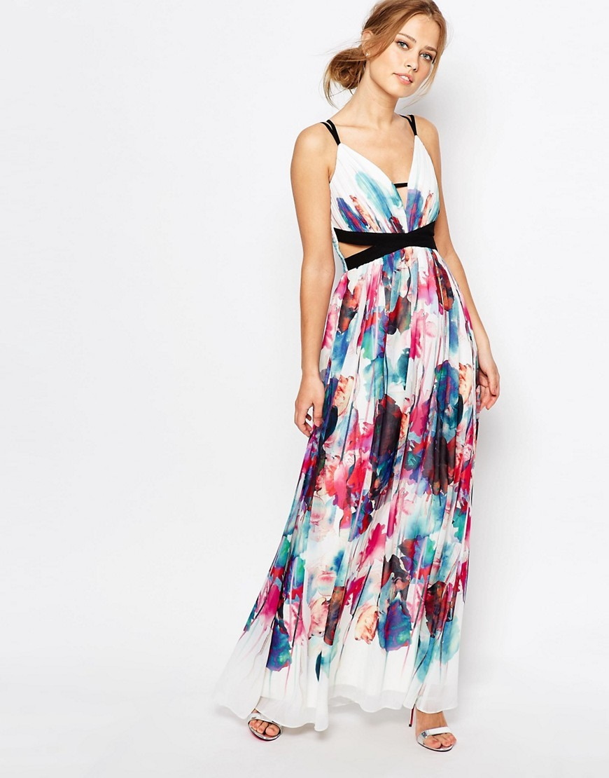Cut Out Maxi Dress In Multi Print Multi Print - neckline: low v-neck; sleeve style: sleeveless; style: maxi dress; predominant colour: white; secondary colour: burgundy; occasions: evening; length: floor length; fit: body skimming; fibres: polyester/polyamide - 100%; waist detail: cut out detail; sleeve length: sleeveless; pattern type: fabric; pattern: patterned/print; texture group: other - light to midweight; multicoloured: multicoloured; season: s/s 2016; wardrobe: event