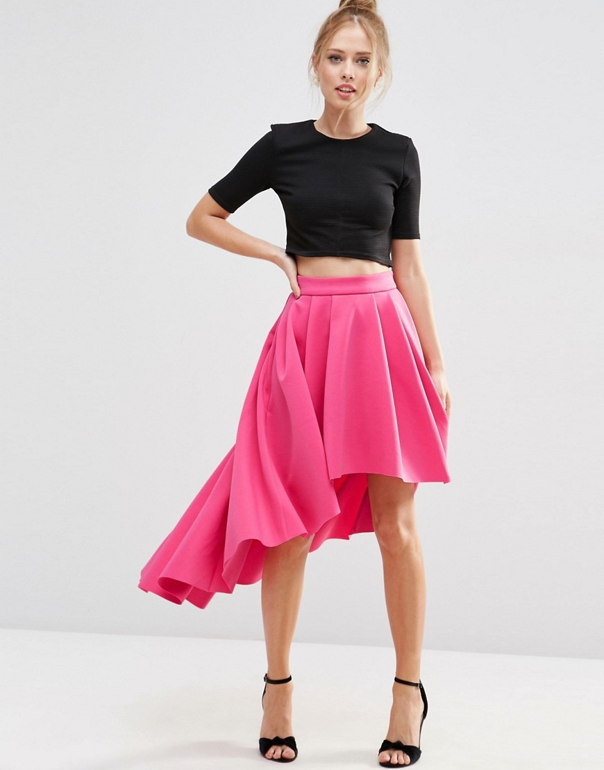 Premium Scuba High Low Prom Skirt Hot Pink - pattern: plain; fit: loose/voluminous; waist: mid/regular rise; predominant colour: hot pink; occasions: evening; length: just above the knee; style: asymmetric (hem); fibres: polyester/polyamide - stretch; pattern type: fabric; texture group: other - light to midweight; season: s/s 2016