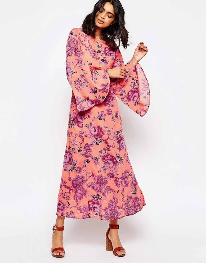 Melrose Floral Printed Maxi Clementine Combo - sleeve style: angel/waterfall; style: maxi dress; length: ankle length; secondary colour: purple; predominant colour: coral; occasions: casual, evening; fit: body skimming; fibres: cotton - mix; neckline: crew; sleeve length: long sleeve; pattern type: fabric; pattern: florals; texture group: other - light to midweight; season: s/s 2016; wardrobe: highlight