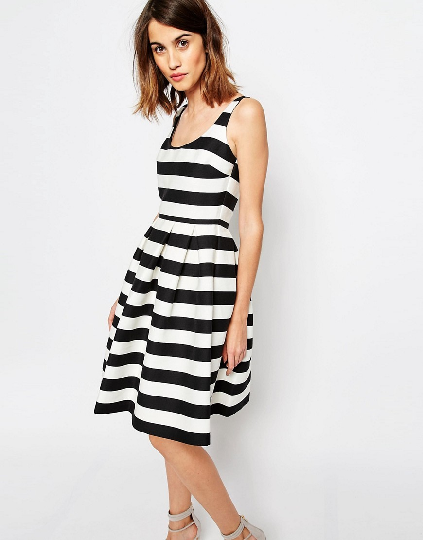 Premium Stripe Prom Dress Black/White - pattern: horizontal stripes; sleeve style: sleeveless; secondary colour: white; predominant colour: black; occasions: evening; length: on the knee; fit: fitted at waist & bust; style: fit & flare; neckline: scoop; fibres: cotton - mix; sleeve length: sleeveless; pattern type: fabric; texture group: other - light to midweight; multicoloured: multicoloured; season: s/s 2016