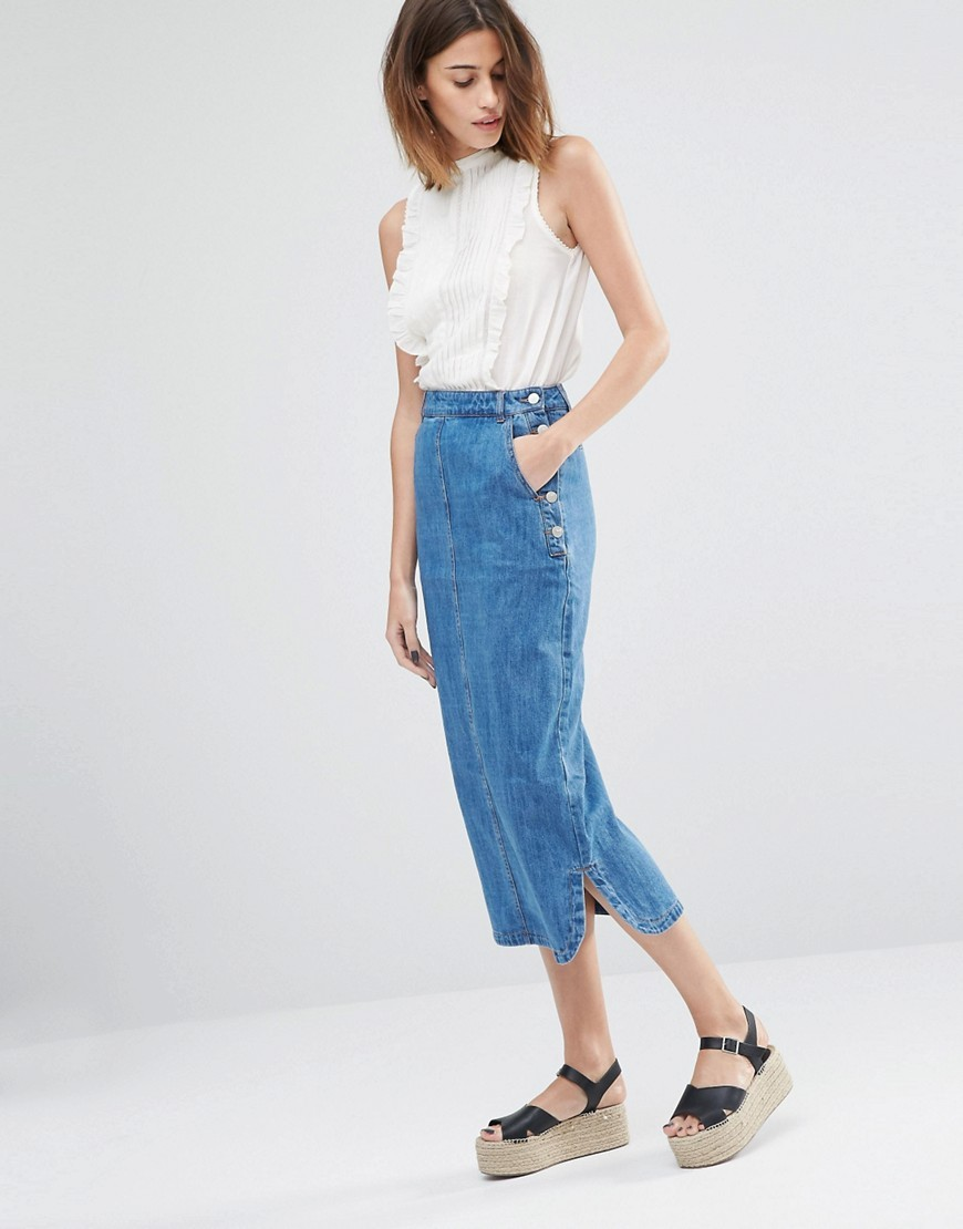 Denim Midi Skirt Light Wash - length: calf length; pattern: plain; style: pencil; fit: body skimming; waist: mid/regular rise; predominant colour: denim; fibres: cotton - 100%; texture group: denim; pattern type: fabric; occasions: creative work; season: s/s 2016