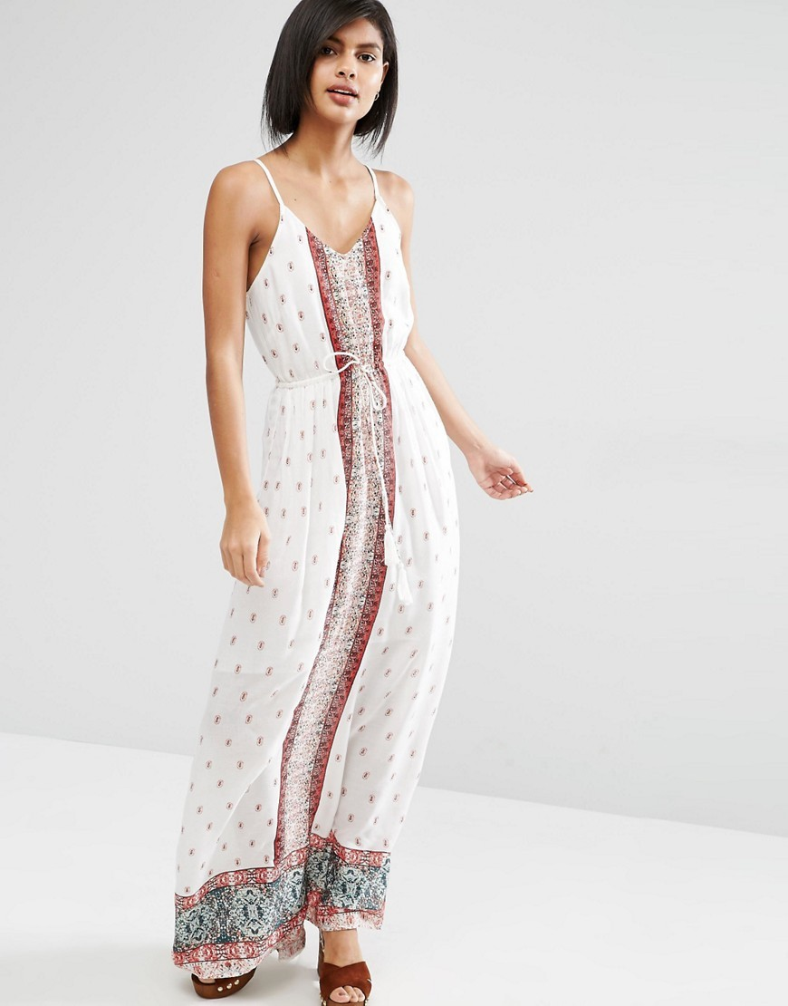 Border Print Maxi Dress Multi - neckline: v-neck; sleeve style: spaghetti straps; style: maxi dress; waist detail: belted waist/tie at waist/drawstring; predominant colour: white; secondary colour: burgundy; occasions: casual; length: floor length; fit: body skimming; fibres: viscose/rayon - 100%; sleeve length: sleeveless; pattern type: fabric; pattern: patterned/print; texture group: jersey - stretchy/drapey; multicoloured: multicoloured; season: s/s 2016; wardrobe: highlight