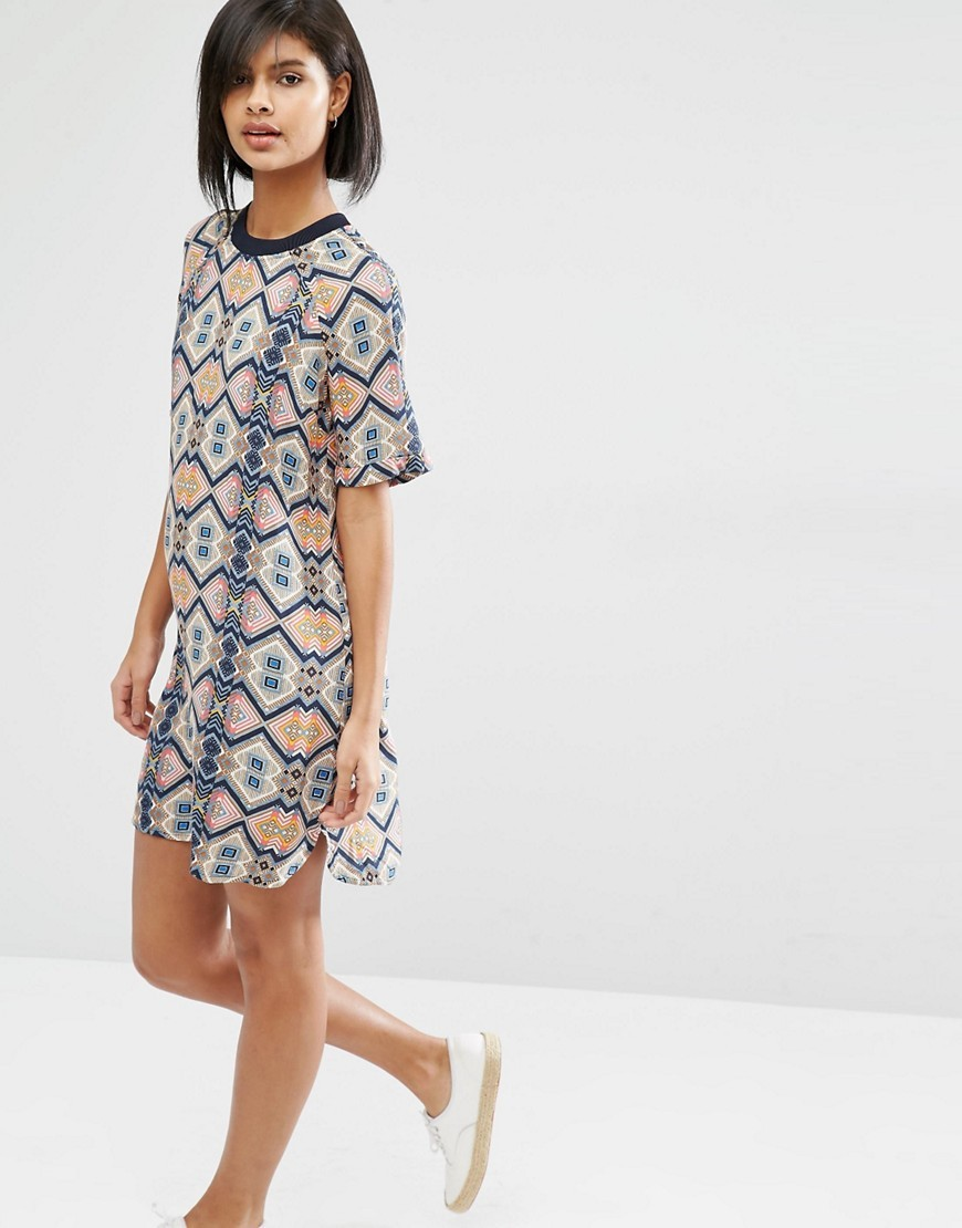 Tile Print Shift Dress Multi - style: shift; sleeve style: raglan; secondary colour: navy; predominant colour: nude; occasions: casual; length: just above the knee; fit: body skimming; fibres: cotton - 100%; neckline: crew; sleeve length: half sleeve; pattern type: fabric; pattern size: standard; pattern: patterned/print; texture group: jersey - stretchy/drapey; multicoloured: multicoloured; season: s/s 2016; wardrobe: highlight