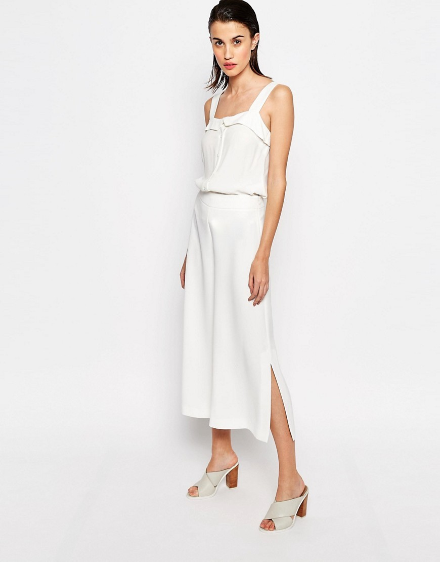 Side Split Crop Trousers White - pattern: plain; style: palazzo; waist: mid/regular rise; predominant colour: white; occasions: casual; length: ankle length; fibres: polyester/polyamide - 100%; fit: wide leg; pattern type: fabric; texture group: jersey - stretchy/drapey; season: s/s 2016; wardrobe: basic