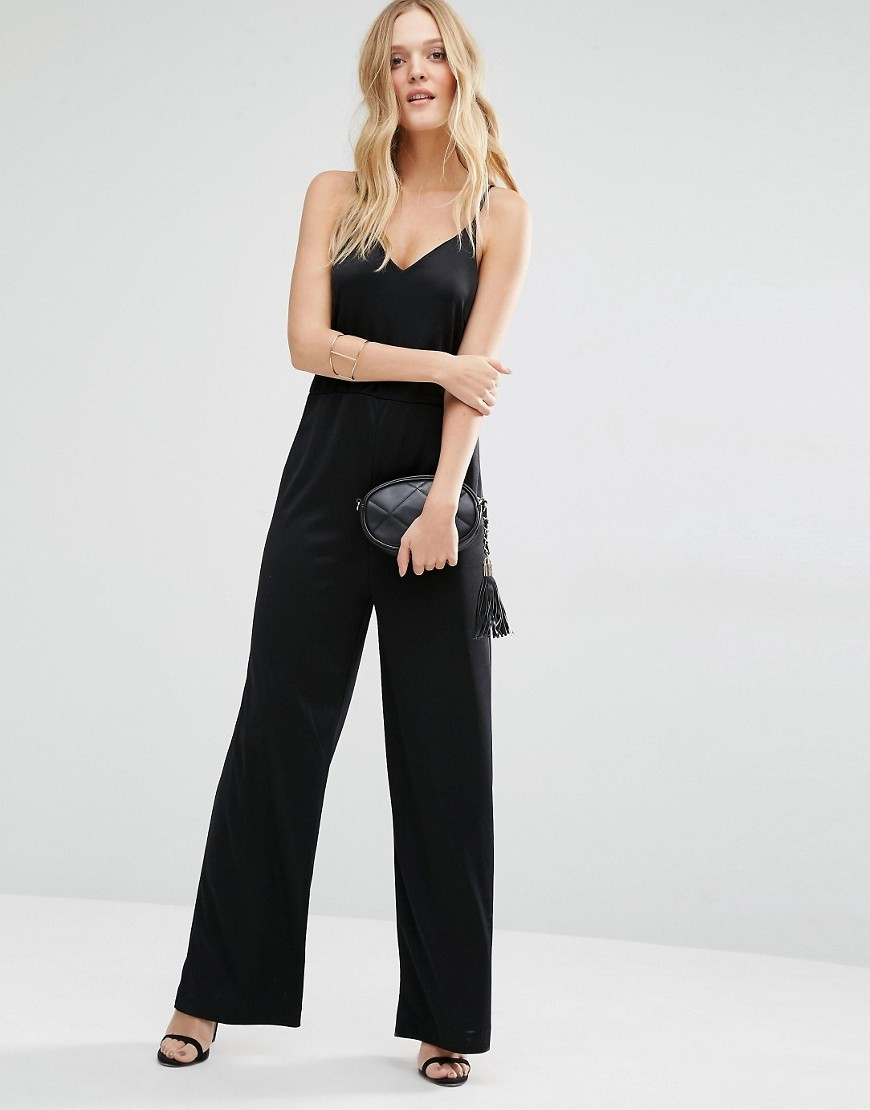 Oil Jumpsuit Black - length: standard; neckline: low v-neck; sleeve style: spaghetti straps; pattern: plain; predominant colour: black; occasions: evening; fit: body skimming; fibres: polyester/polyamide - 100%; sleeve length: sleeveless; style: jumpsuit; pattern type: fabric; texture group: jersey - stretchy/drapey; season: s/s 2016