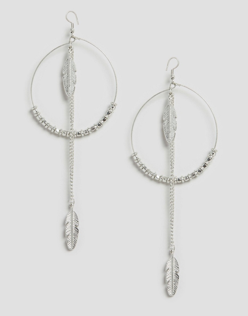 Feather Hoop Earrings Silver - predominant colour: silver; occasions: evening, occasion; style: chandelier; length: long; size: large/oversized; material: chain/metal; fastening: pierced; finish: plain; embellishment: feathers; season: s/s 2016; wardrobe: event