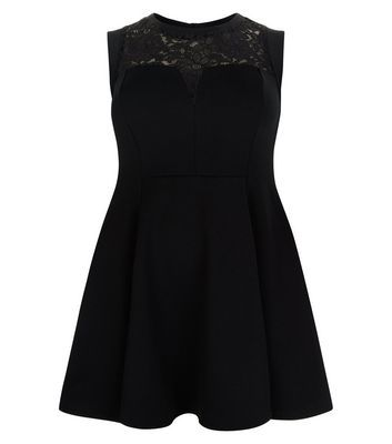 Curves Black Lace Panel Skater Dress - length: mid thigh; pattern: plain; sleeve style: sleeveless; bust detail: sheer at bust; predominant colour: black; occasions: evening; fit: fitted at waist & bust; style: fit & flare; fibres: polyester/polyamide - stretch; neckline: crew; sleeve length: sleeveless; pattern type: fabric; texture group: jersey - stretchy/drapey; embellishment: lace; season: s/s 2016; wardrobe: event