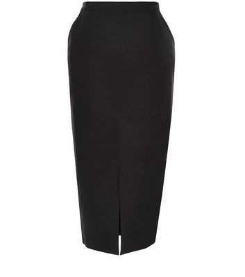 Black Stretch Split Front Pencil Skirt - length: below the knee; pattern: plain; style: pencil; fit: tailored/fitted; waist: high rise; predominant colour: black; occasions: work; fibres: cotton - stretch; waist detail: narrow waistband; pattern type: fabric; texture group: woven light midweight; season: s/s 2016; wardrobe: basic