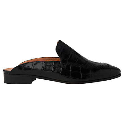 Lister Open Back Loafers - predominant colour: black; occasions: casual, creative work; material: leather; heel height: flat; toe: round toe; style: loafers; finish: plain; pattern: plain; season: s/s 2016