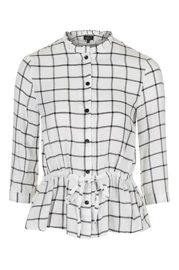 Frill Peplum Check Shirt - pattern: checked/gingham; style: shirt; waist detail: peplum waist detail; predominant colour: ivory/cream; secondary colour: black; occasions: casual, creative work; length: standard; neckline: collarstand; fit: body skimming; sleeve length: 3/4 length; sleeve style: standard; trends: monochrome; texture group: cotton feel fabrics; pattern type: fabric; pattern size: light/subtle; fibres: viscose/rayon - mix; season: s/s 2016; wardrobe: highlight