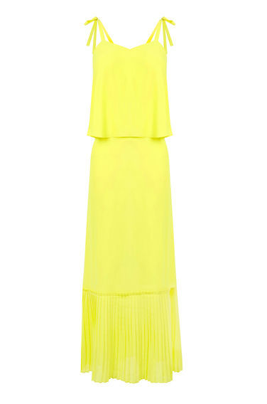 Tie Shoulder Midi Dress - length: calf length; neckline: round neck; pattern: plain; sleeve style: sleeveless; style: sundress; predominant colour: yellow; occasions: evening, holiday; fit: body skimming; fibres: polyester/polyamide - 100%; sleeve length: sleeveless; pattern type: fabric; texture group: other - light to midweight; season: s/s 2016; wardrobe: highlight