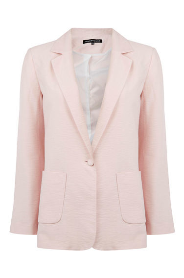 Soft Boyfriend Jacket - pattern: plain; style: single breasted blazer; collar: shawl/waterfall; predominant colour: blush; length: standard; fit: tailored/fitted; fibres: polyester/polyamide - 100%; occasions: occasion, creative work; sleeve length: long sleeve; sleeve style: standard; collar break: medium; pattern type: fabric; texture group: woven light midweight; season: s/s 2016; wardrobe: investment