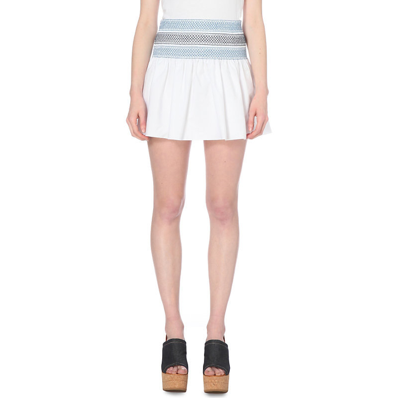 Pleated Cotton Mini Skirt, Women's, White - length: mini; fit: body skimming; waist: mid/regular rise; predominant colour: white; secondary colour: pale blue; occasions: casual; style: mini skirt; fibres: cotton - 100%; texture group: cotton feel fabrics; pattern type: fabric; pattern: horizontal stripes (bottom); multicoloured: multicoloured; season: s/s 2016; wardrobe: highlight