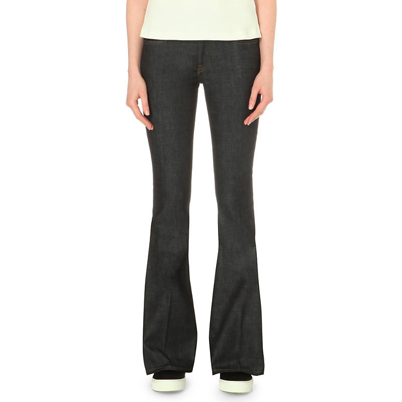 Flared Mid Rise Jeans, Women's, Raw Stretch - style: flares; length: standard; pattern: plain; pocket detail: traditional 5 pocket; waist: mid/regular rise; predominant colour: black; occasions: casual; fibres: cotton - stretch; jeans detail: dark wash; texture group: denim; pattern type: fabric; season: s/s 2016