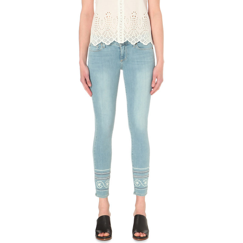 Verdugo Ankle Embroidered Ultra Skinny Mid Rise Jeans, Women's, Indigo Marin - style: skinny leg; pattern: plain; pocket detail: traditional 5 pocket; waist: mid/regular rise; predominant colour: pale blue; occasions: casual; length: ankle length; fibres: cotton - stretch; jeans detail: shading down centre of thigh, washed/faded; texture group: denim; pattern type: fabric; embellishment: embroidered; season: s/s 2016; wardrobe: basic