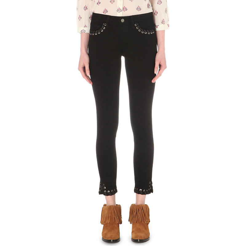 Verdugo Ankle Lace Up Ultra Skinny Mid Rise Jeans, Women's, Black Shadow - style: skinny leg; pattern: plain; pocket detail: traditional 5 pocket; waist: mid/regular rise; predominant colour: black; occasions: casual; length: ankle length; fibres: cotton - stretch; texture group: denim; pattern type: fabric; season: s/s 2016