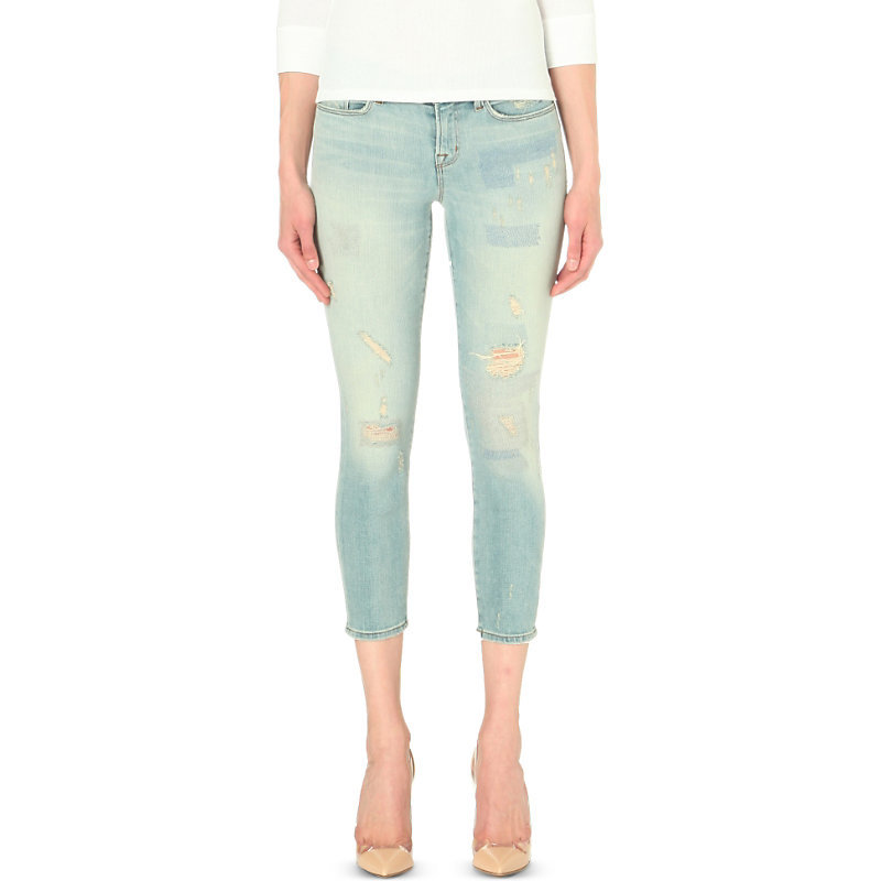 9326 Cropped Low Rise Skinny Jeans, Women's, Halo Destruct - style: skinny leg; pattern: plain; waist: low rise; pocket detail: traditional 5 pocket; predominant colour: pale blue; occasions: casual; length: calf length; fibres: cotton - stretch; jeans detail: washed/faded, rips; texture group: denim; pattern type: fabric; season: s/s 2016; wardrobe: basic