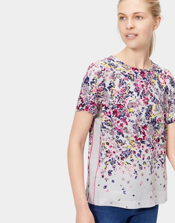Calla Woven Top Silver Scatter - predominant colour: ivory/cream; secondary colour: pink; occasions: casual; length: standard; style: top; fibres: viscose/rayon - 100%; fit: body skimming; neckline: crew; sleeve length: short sleeve; sleeve style: standard; pattern type: fabric; pattern size: standard; pattern: florals; texture group: woven light midweight; multicoloured: multicoloured; season: s/s 2016; wardrobe: highlight