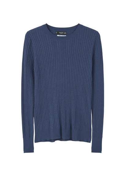 Cable Knit Sweater - neckline: round neck; pattern: plain; style: standard; predominant colour: navy; occasions: casual, work, creative work; length: standard; fit: standard fit; sleeve length: long sleeve; sleeve style: standard; texture group: knits/crochet; pattern type: knitted - fine stitch; fibres: cashmere - mix; season: s/s 2016; wardrobe: investment