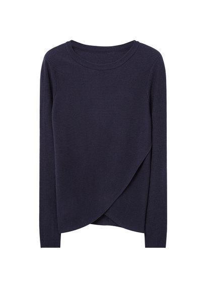 Crossover Sweater - neckline: round neck; pattern: plain; style: standard; predominant colour: navy; occasions: casual, creative work; length: standard; fibres: acrylic - 100%; fit: standard fit; sleeve length: long sleeve; sleeve style: standard; texture group: knits/crochet; pattern type: knitted - fine stitch; season: s/s 2016; wardrobe: basic