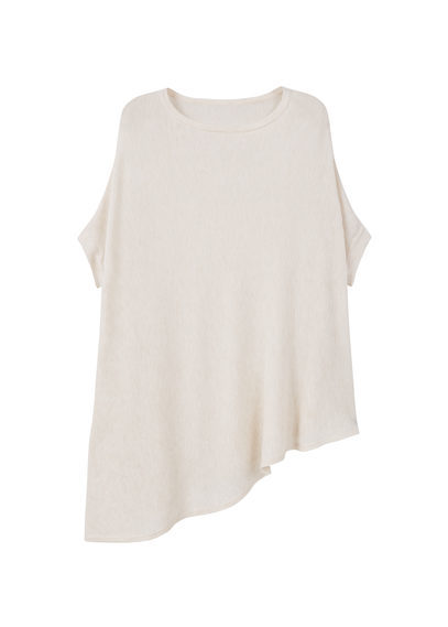 Asymmetric Hem Sweater - neckline: round neck; pattern: plain; length: below the bottom; style: standard; predominant colour: ivory/cream; occasions: casual; fit: loose; sleeve length: short sleeve; sleeve style: standard; pattern type: fabric; texture group: jersey - stretchy/drapey; fibres: viscose/rayon - mix; season: s/s 2016