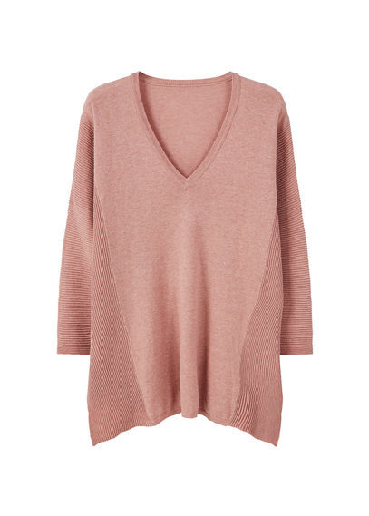 Cotton Sweater - neckline: v-neck; pattern: plain; style: standard; occasions: casual, creative work; length: standard; fibres: cotton - 100%; fit: slim fit; sleeve length: long sleeve; sleeve style: standard; texture group: knits/crochet; pattern type: knitted - fine stitch; predominant colour: dusky pink; season: s/s 2016; wardrobe: highlight