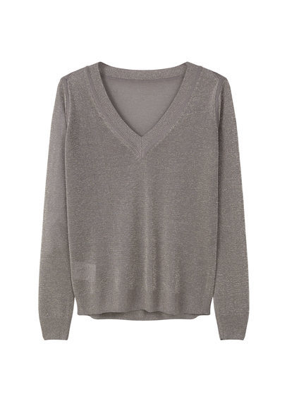 Metallic Sweater - neckline: v-neck; pattern: plain; style: standard; predominant colour: mid grey; occasions: casual, work, creative work; length: standard; fit: standard fit; sleeve length: long sleeve; sleeve style: standard; texture group: knits/crochet; pattern type: knitted - fine stitch; fibres: viscose/rayon - mix; season: s/s 2016; wardrobe: basic