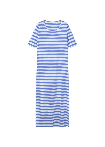 Striped Long Dress - neckline: round neck; fit: loose; pattern: horizontal stripes; style: maxi dress; length: ankle length; secondary colour: white; predominant colour: diva blue; occasions: casual, holiday, creative work; fibres: cotton - stretch; sleeve length: short sleeve; sleeve style: standard; pattern type: fabric; texture group: jersey - stretchy/drapey; season: s/s 2016