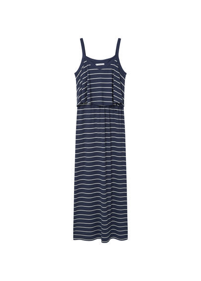 Striped Long Dress - sleeve style: spaghetti straps; fit: loose; pattern: horizontal stripes; style: maxi dress; length: ankle length; secondary colour: white; predominant colour: navy; occasions: casual, holiday; neckline: scoop; fibres: cotton - stretch; hip detail: subtle/flattering hip detail; sleeve length: sleeveless; pattern type: fabric; texture group: jersey - stretchy/drapey; season: s/s 2016; wardrobe: basic