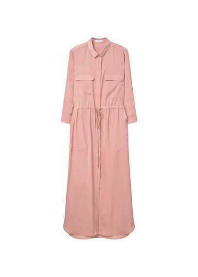 Long Shirt Dress - style: shirt; neckline: shirt collar/peter pan/zip with opening; fit: fitted at waist; length: ankle length; waist detail: belted waist/tie at waist/drawstring; predominant colour: pink; occasions: casual; fibres: polyester/polyamide - 100%; sleeve length: 3/4 length; sleeve style: standard; pattern type: fabric; pattern: patterned/print; texture group: other - light to midweight; season: s/s 2016; wardrobe: highlight