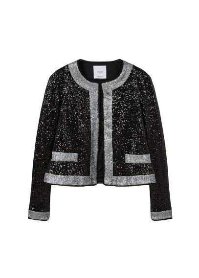 Sequin Embroidered Jacket - pattern: plain; collar: round collar/collarless; style: boxy; secondary colour: silver; predominant colour: black; occasions: evening, occasion; fit: straight cut (boxy); fibres: polyester/polyamide - 100%; sleeve length: long sleeve; sleeve style: standard; collar break: high; pattern type: fabric; texture group: woven light midweight; embellishment: sequins; length: cropped; season: s/s 2016; wardrobe: event