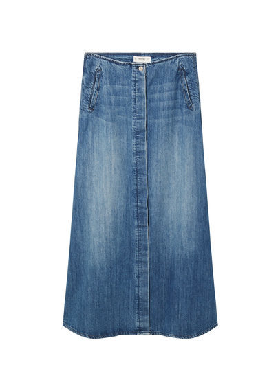 Denim Long Skirt - length: calf length; pattern: plain; fit: loose/voluminous; waist: high rise; predominant colour: denim; occasions: casual; style: a-line; fibres: cotton - stretch; texture group: denim; pattern type: fabric; season: s/s 2016; wardrobe: basic