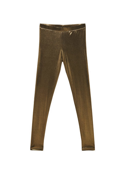 Metallic Leggings - length: standard; pattern: plain; style: leggings; waist: mid/regular rise; predominant colour: gold; occasions: evening; fibres: polyester/polyamide - stretch; texture group: jersey - clingy; fit: skinny/tight leg; pattern type: fabric; season: s/s 2016; wardrobe: event