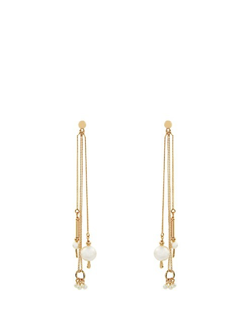 Kay Earrings - predominant colour: gold; occasions: evening, occasion; style: drop; length: extra long; size: standard; material: chain/metal; fastening: pierced; finish: metallic; embellishment: jewels/stone; season: s/s 2016; wardrobe: event