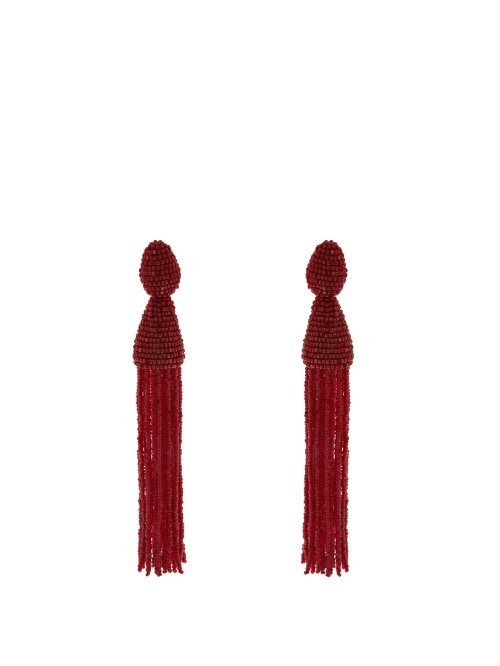 Beaded Tassel Drop Clip On Earrlings - occasions: evening, occasion; style: drop; length: extra long; size: large/oversized; material: chain/metal; fastening: clip on; finish: plain; embellishment: beading; predominant colour: raspberry; season: s/s 2016; wardrobe: event