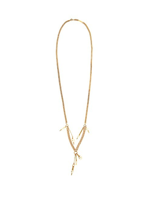 Kay Necklace - predominant colour: gold; occasions: casual, creative work; style: pendant; length: long; size: standard; material: chain/metal; finish: metallic; embellishment: beading; season: s/s 2016