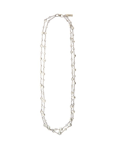 Feltro Necklace - predominant colour: silver; style: multistrand; length: mid; size: standard; material: chain/metal; finish: plain; embellishment: beading; occasions: creative work; season: s/s 2016; wardrobe: highlight