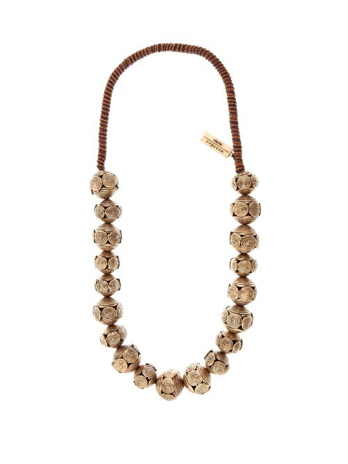 Teano Necklace - predominant colour: khaki; occasions: casual, holiday; length: mid; size: large/oversized; material: fabric/cotton; finish: plain; embellishment: chain/metal; season: s/s 2016; style: bead; wardrobe: highlight