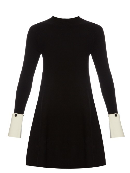Janzir Dress - style: shift; length: mid thigh; secondary colour: ivory/cream; predominant colour: black; fit: body skimming; neckline: crew; sleeve length: long sleeve; sleeve style: standard; trends: monochrome; texture group: knits/crochet; pattern type: knitted - fine stitch; pattern: colourblock; fibres: viscose/rayon - mix; occasions: creative work; multicoloured: multicoloured; season: s/s 2016; wardrobe: highlight