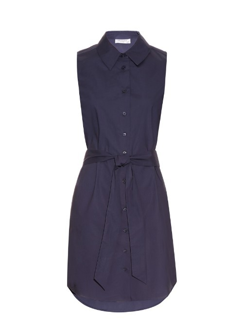 Claudia Cotton Poplin Dress - style: shirt; length: mid thigh; neckline: shirt collar/peter pan/zip with opening; fit: tailored/fitted; pattern: plain; sleeve style: sleeveless; waist detail: belted waist/tie at waist/drawstring; predominant colour: navy; fibres: cotton - 100%; sleeve length: sleeveless; texture group: cotton feel fabrics; pattern type: fabric; occasions: creative work; season: s/s 2016