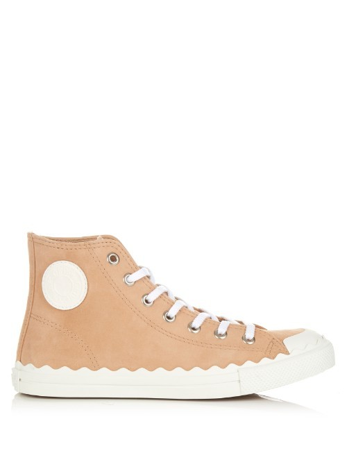 Kyle High Top Suede Trainers - secondary colour: white; predominant colour: camel; occasions: casual; material: leather; heel height: flat; toe: round toe; style: trainers; finish: plain; pattern: plain; shoe detail: tread; season: s/s 2016; wardrobe: highlight