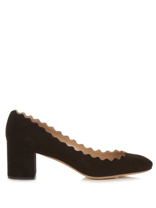 Lauren Scallop Edged Suede Pumps - predominant colour: black; occasions: work; material: suede; heel height: mid; heel: block; toe: round toe; style: courts; finish: plain; pattern: plain; season: s/s 2016; wardrobe: investment