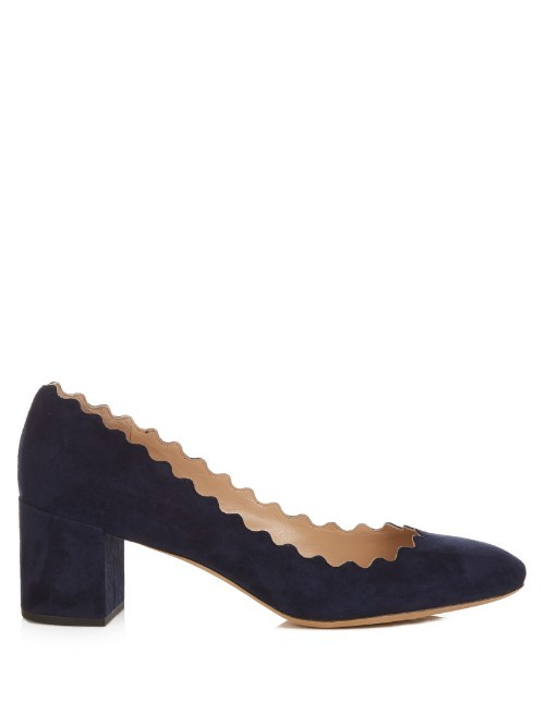 Lauren Scallop Edged Suede Pumps - predominant colour: black; occasions: work; material: suede; heel height: mid; heel: block; toe: round toe; style: courts; finish: plain; pattern: plain; season: s/s 2016