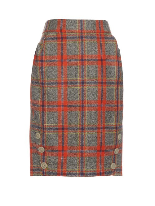 Twisted Tartan Wool Skirt - pattern: tartan; style: pencil; waist: high rise; secondary colour: true red; predominant colour: mid grey; length: just above the knee; fibres: wool - 100%; fit: straight cut; pattern type: fabric; texture group: tweed - light/midweight; occasions: creative work; season: s/s 2016; wardrobe: highlight