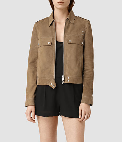 Emery Suede Jacket - pattern: plain; style: boxy; hip detail: draws attention to hips; predominant colour: tan; occasions: casual, creative work; length: standard; fit: straight cut (boxy); collar: shirt collar/peter pan/zip with opening; sleeve length: long sleeve; sleeve style: standard; texture group: leather; collar break: high; pattern type: fabric; fibres: viscose/rayon - mix; season: s/s 2016; wardrobe: highlight; embellishment location: bust
