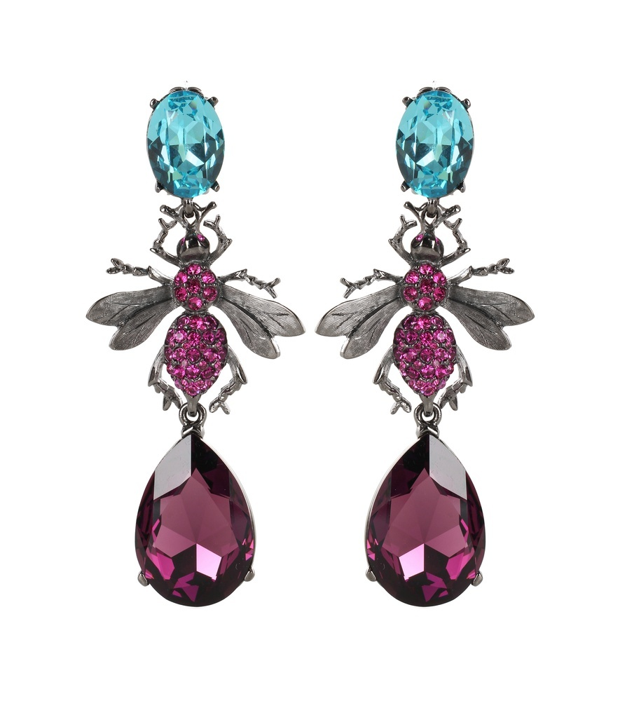 Crystal Embellished Clip On Earrings - predominant colour: magenta; secondary colour: turquoise; occasions: evening, occasion; style: drop; length: long; size: large/oversized; material: chain/metal; fastening: clip on; finish: metallic; embellishment: jewels/stone; multicoloured: multicoloured; season: s/s 2016; wardrobe: event