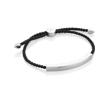 Linear Large Friendship Bracelet Black - secondary colour: silver; predominant colour: black; occasions: casual, creative work; style: bangle/standard; size: standard; material: fabric/cotton; finish: plain; embellishment: chain/metal; season: s/s 2016