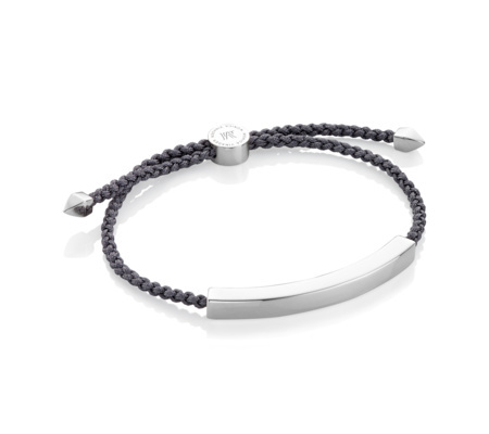 Linear Large Friendship Bracelet Steel Grey - predominant colour: silver; secondary colour: charcoal; occasions: casual, creative work; style: friendship/tie; size: standard; material: fabric/cotton; finish: plain; embellishment: chain/metal; season: s/s 2016; wardrobe: highlight