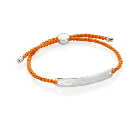 Havana Men's Friendship Bracelet Tangerine - predominant colour: bright orange; secondary colour: silver; occasions: casual, creative work; style: friendship/tie; size: standard; material: fabric/cotton; finish: plain; embellishment: chain/metal; season: s/s 2016; wardrobe: highlight