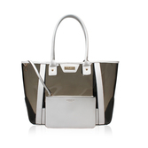 Layla Perspex Shopper - secondary colour: white; predominant colour: charcoal; occasions: casual, creative work; type of pattern: light; style: tote; length: shoulder (tucks under arm); size: oversized; material: faux leather; finish: plain; pattern: colourblock; season: s/s 2016; wardrobe: highlight